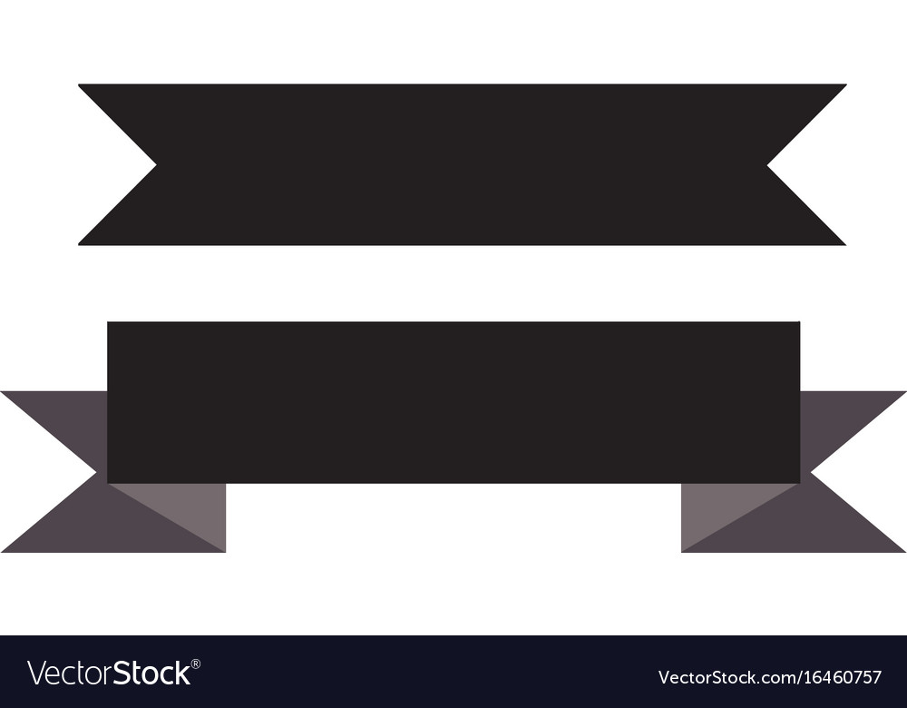Black ribbon banner on white background black