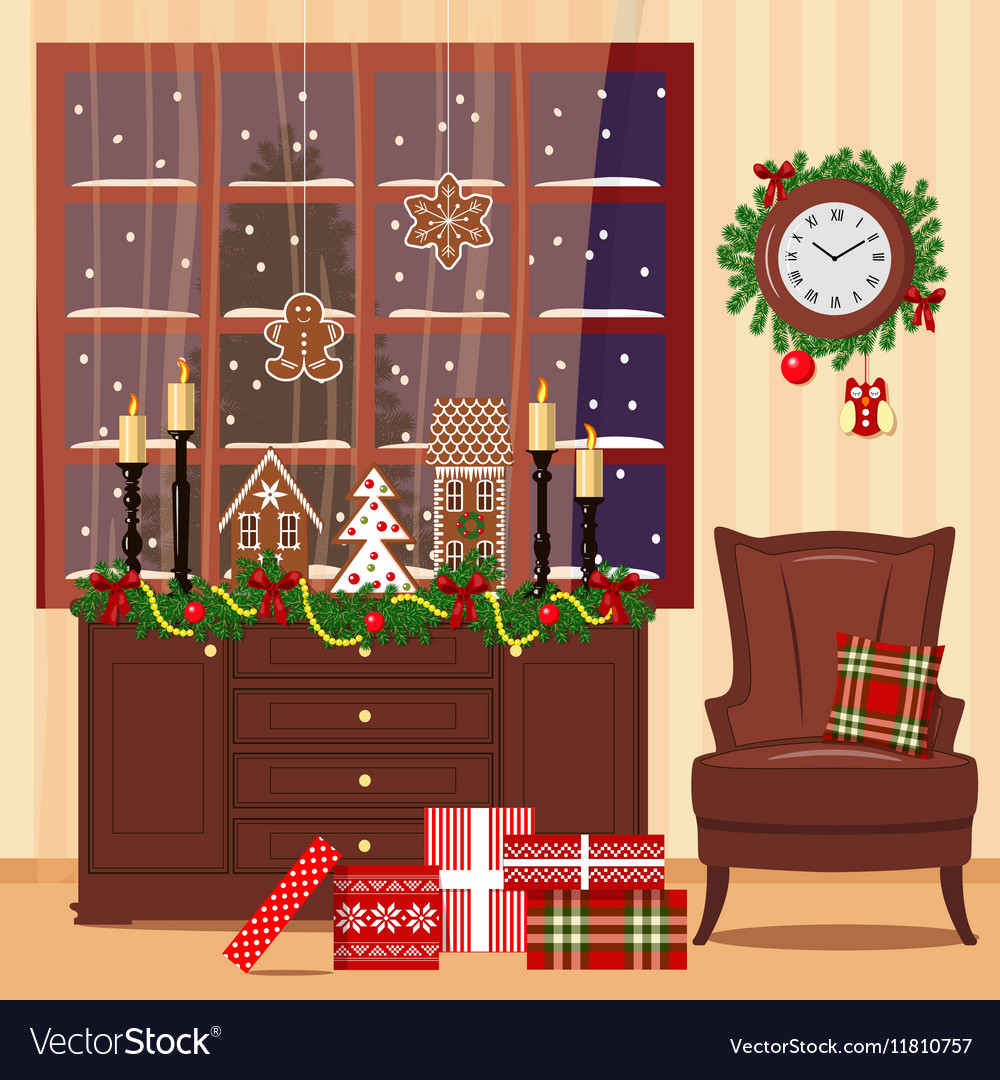 Christmas decorated room with armchair window