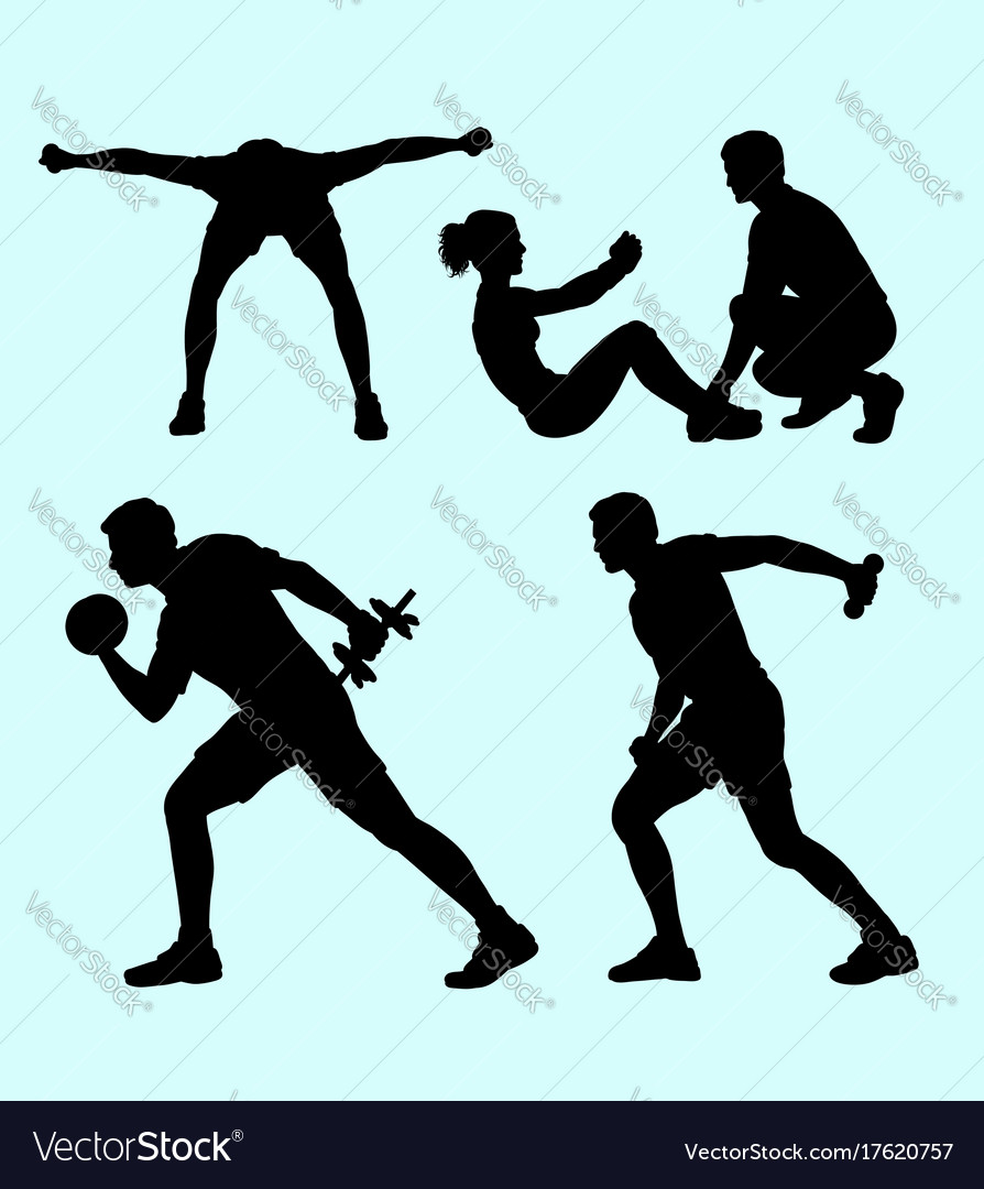 Fitness sport silhouette vector image