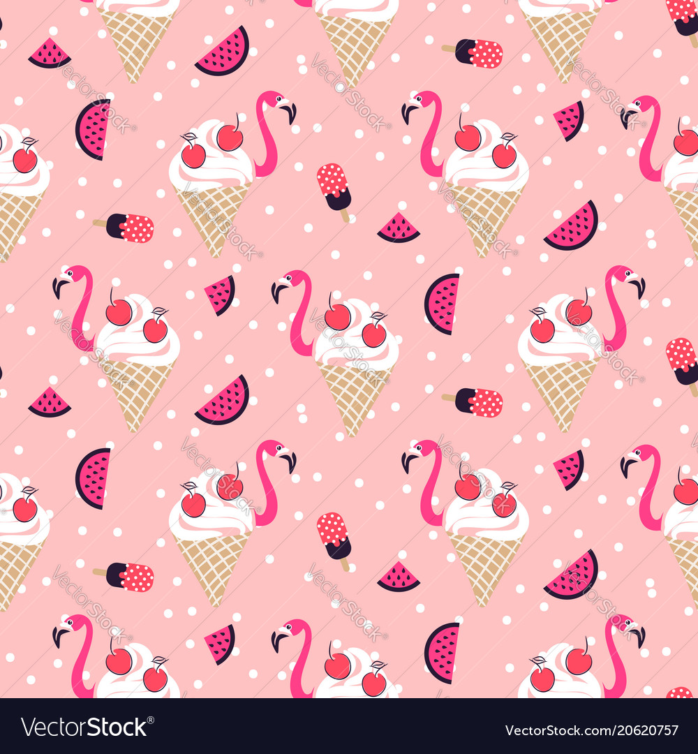 Flamingo Ice Cream Seamless Pattern