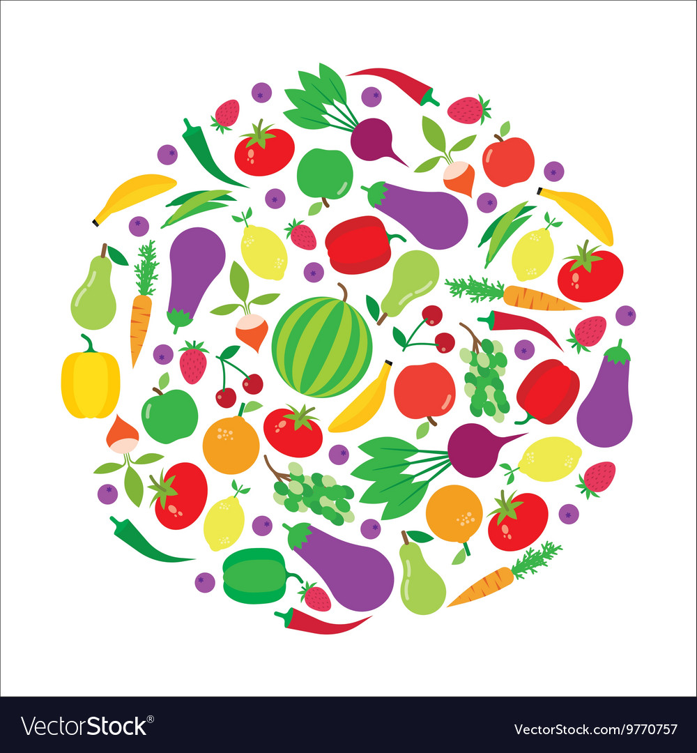 Fruit and vegetable circle background