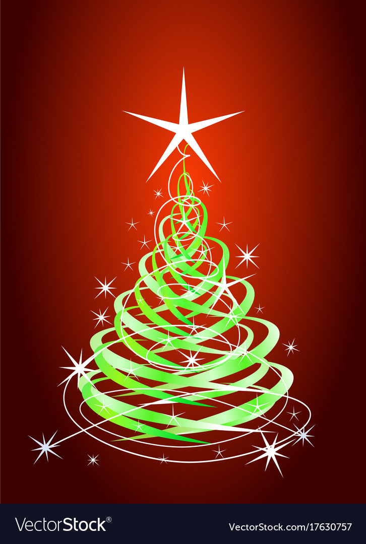 Green christmas tree red background with stars