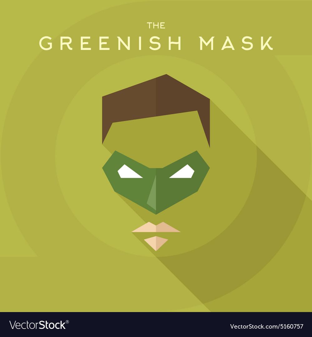 Greenish mask superhero into flat style vector image