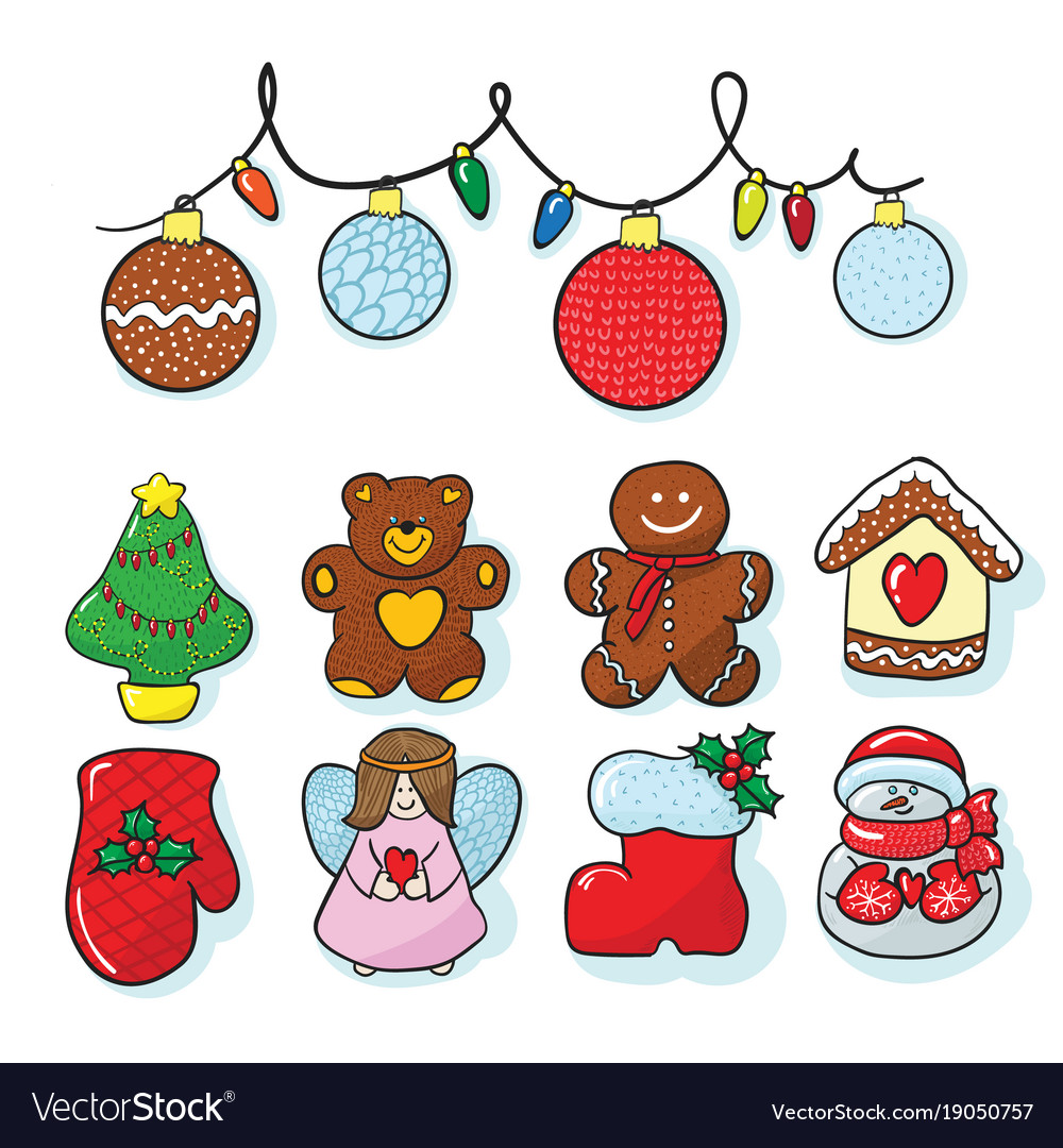Christmas Pictures To Draw.Set Of Christmas Decoration Hand Draw