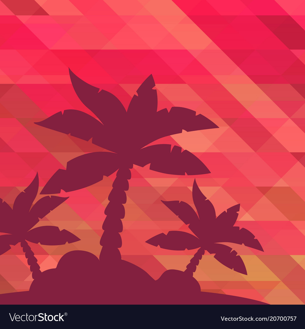 Tropical landscape palm under clean red