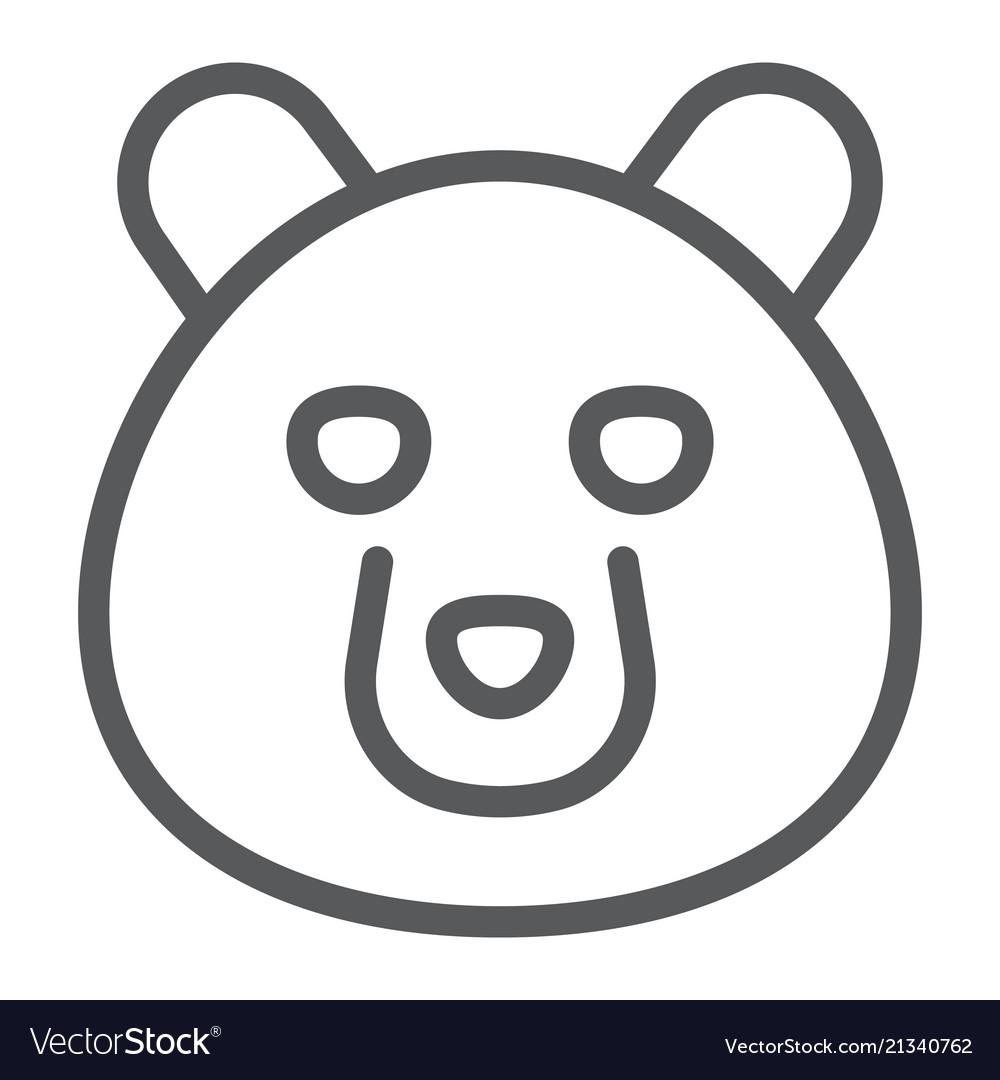 Bear line icon animal and zoo
