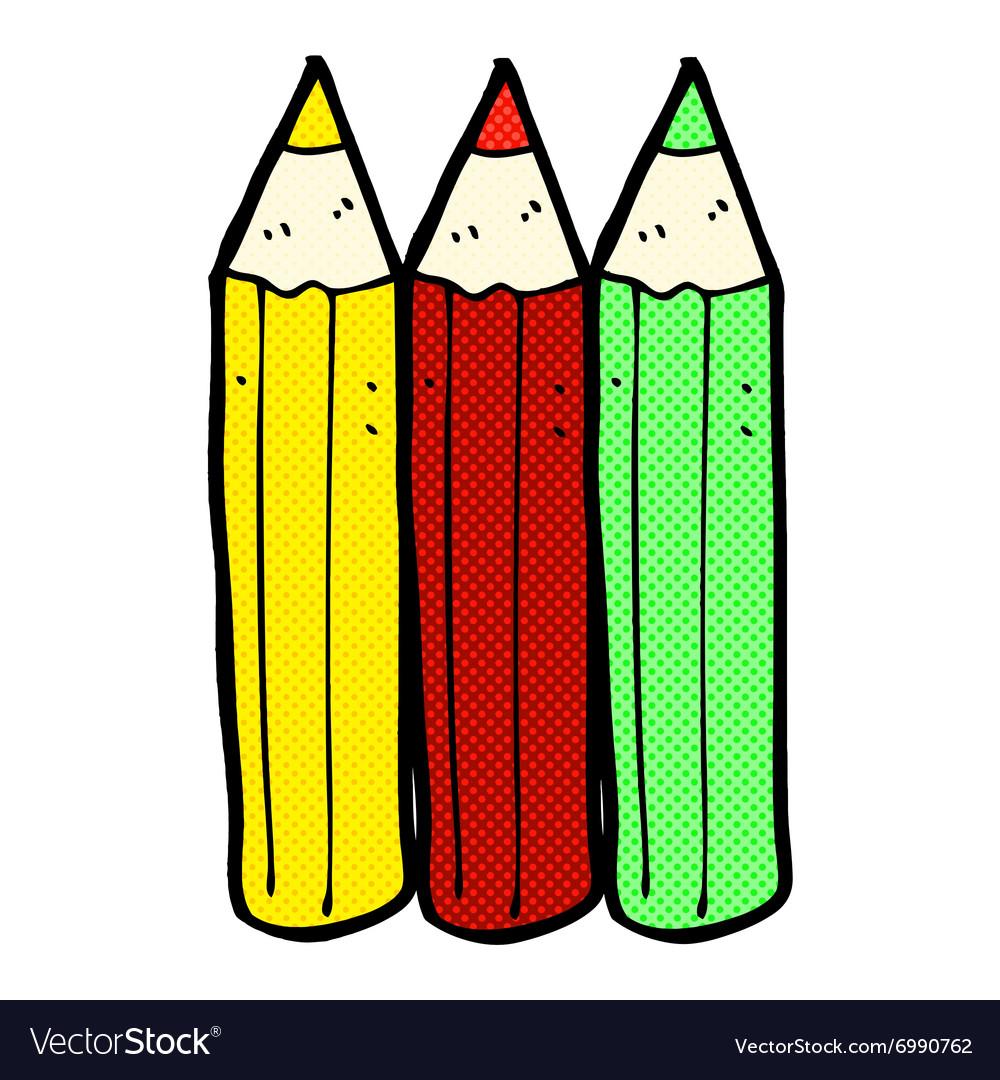 Comic cartoon coloring pencils Royalty Free Vector Image
