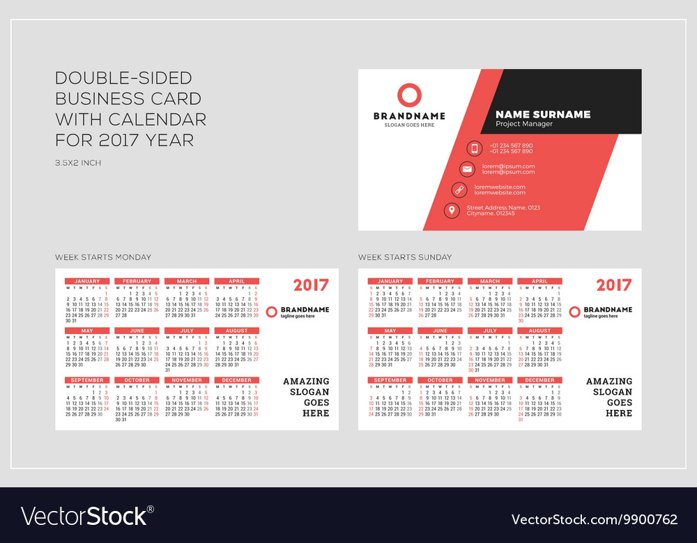 Double sided business card template with calendar vector image accmission Images