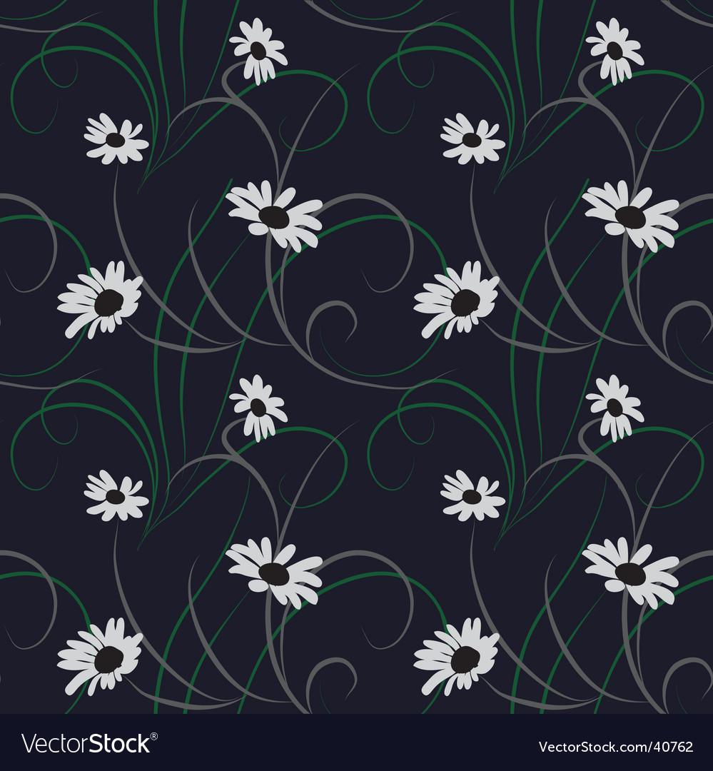 Flower seamless dark blue background vector image