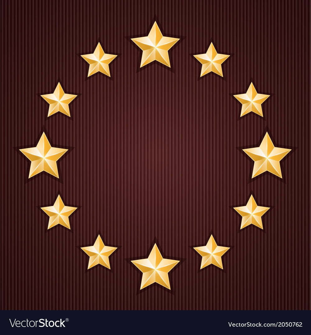 Gold stars on red textured background vector image