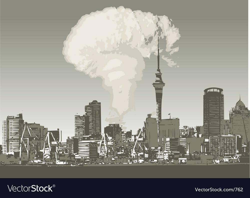 Grunge city atomic vector image