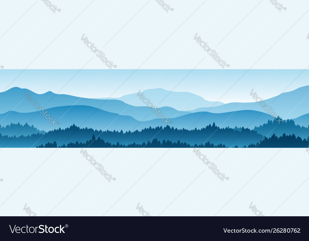 Horizontal landscape with fog forest mountains