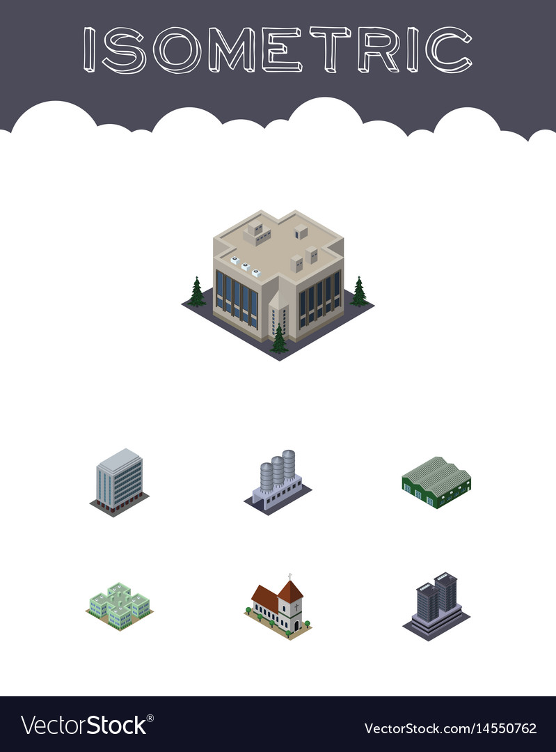 Isometric building set of office tower company vector image