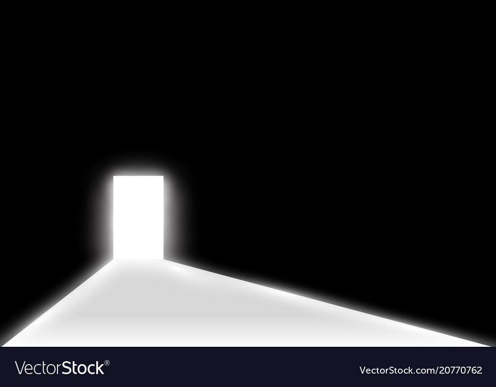 Open Door Dark Room In Open The Door In Dark Room With Light Passing Vector Image
