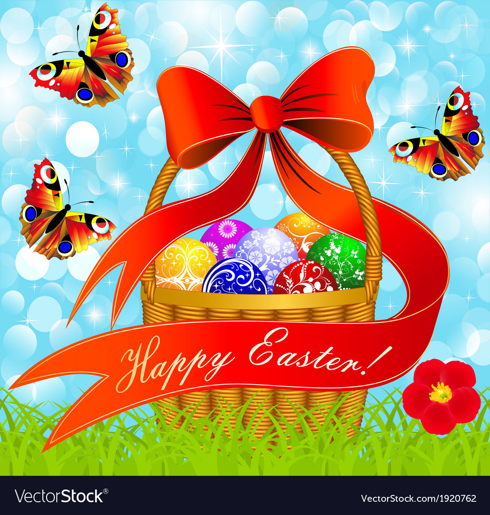 Postcard with Easter eggs in the basket vector image