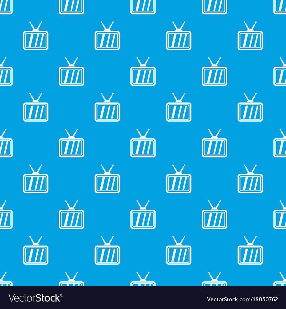 Retro tv pattern seamless blue