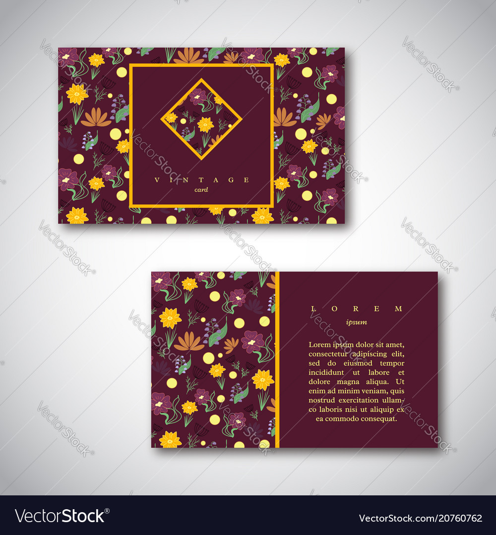 Set of business cards with floral pattern