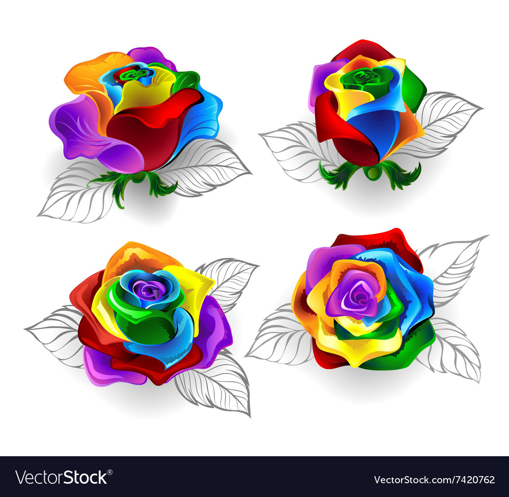 Set Of Rainbow Roses Vector Image