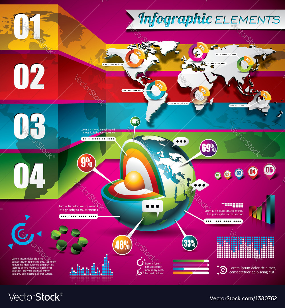 Technology design set of infographic elements