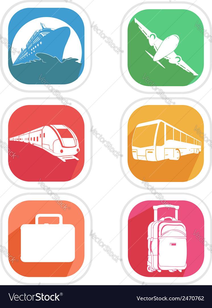 Transportation Icon Airplane Cruise Ship Train Bus