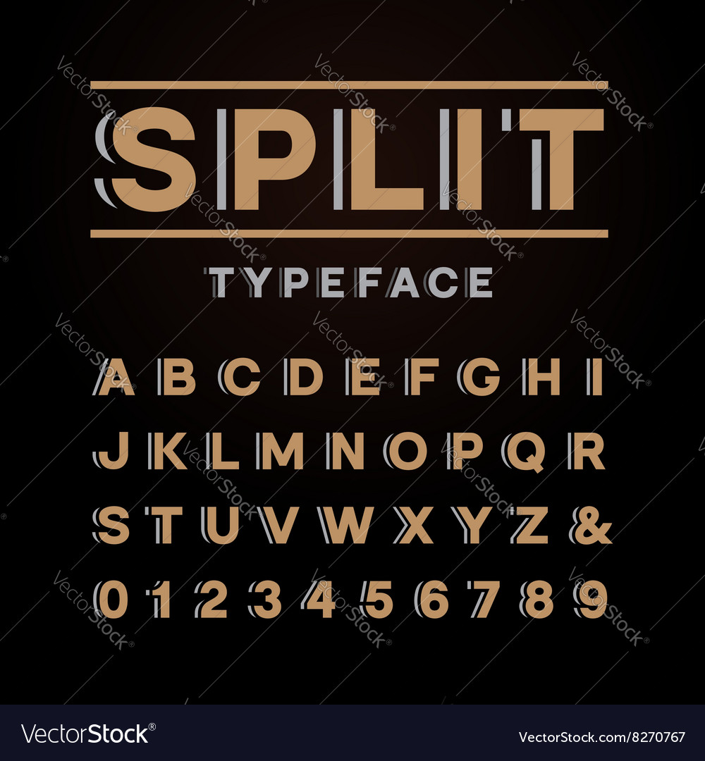 Bold font alphabet with split effect letters and