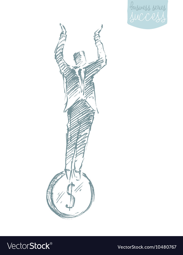 Businessman stand coin financial stability