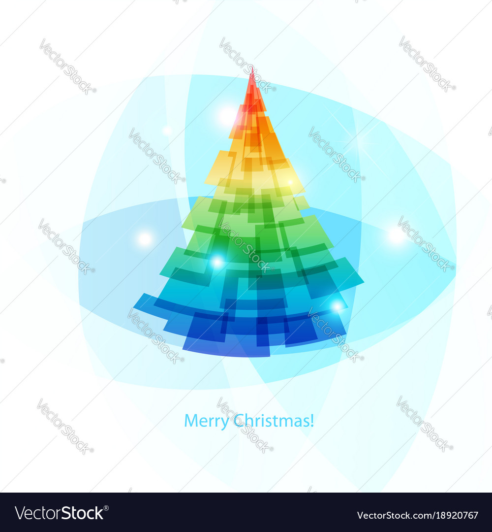 Card merry christmas colorful spruce on light