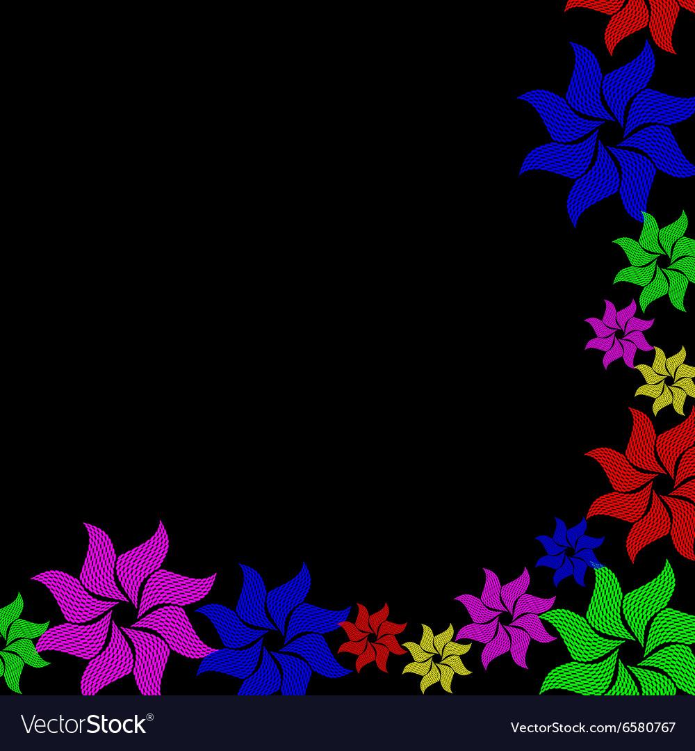 Colorful Flower Burst On Black Background Vector Image
