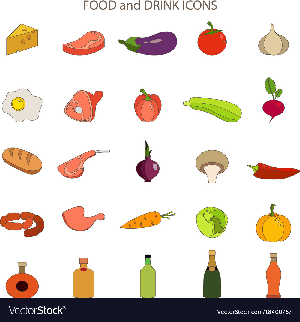 Food and drink flat icons set