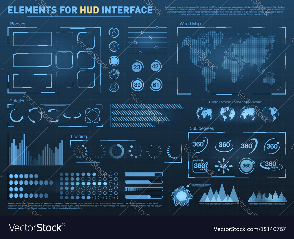 Hud user interface with elements interactive