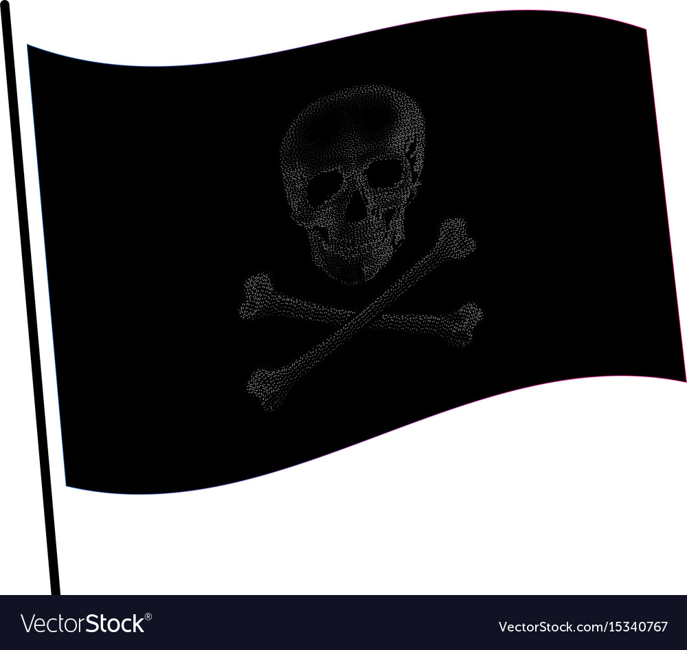 Isolated black color flag with grey image of skull