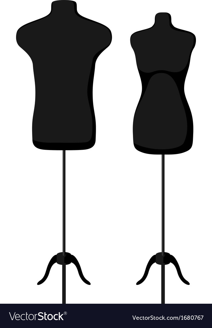 Male and female empty mannequin torso template vector image