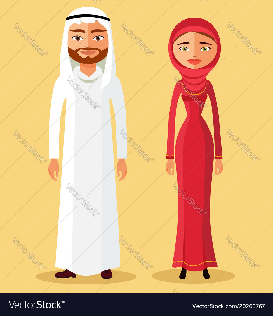 Muslim couple in flat cartoon style