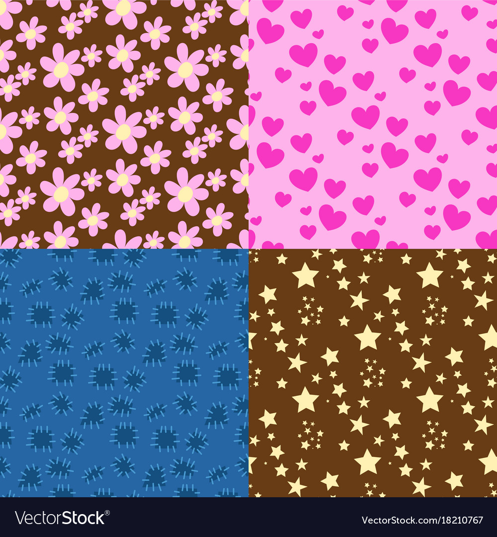 Nature flower hearts seamless pattern vector image