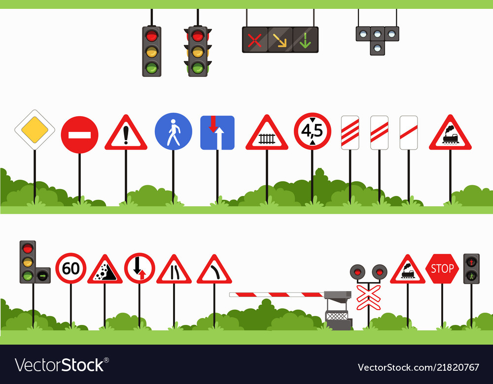 Road signs set various traffic sign