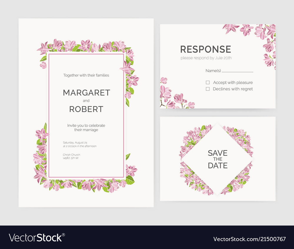 Set of gorgeous wedding invitation save the date