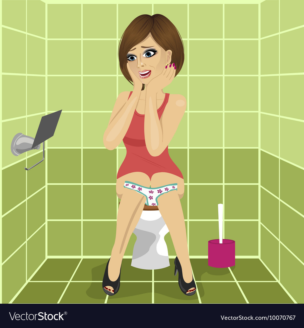 Woman Sitting On Toilet Seat Upset Vector Image