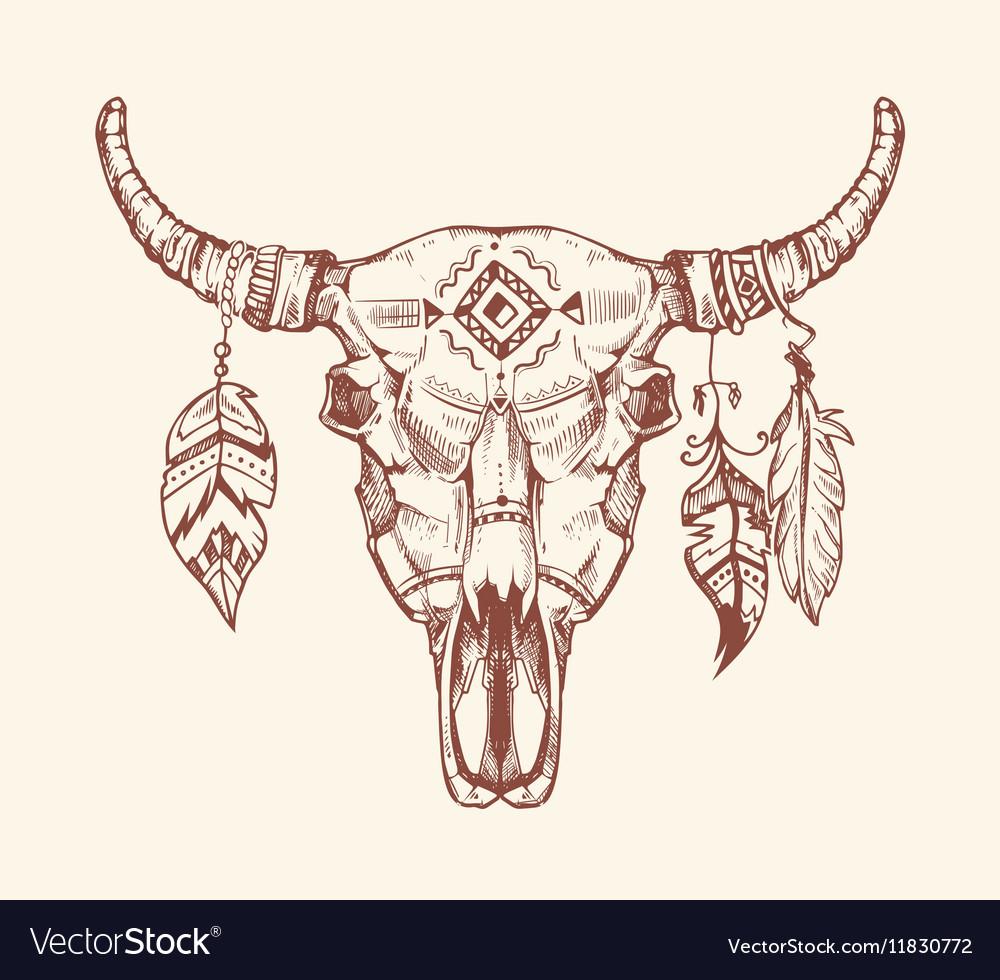 Aztec tribal buffalo skull t-shirt print