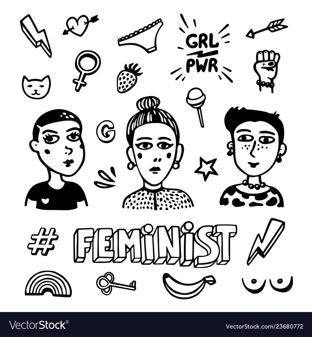 Black and white feminist symbols set feminist