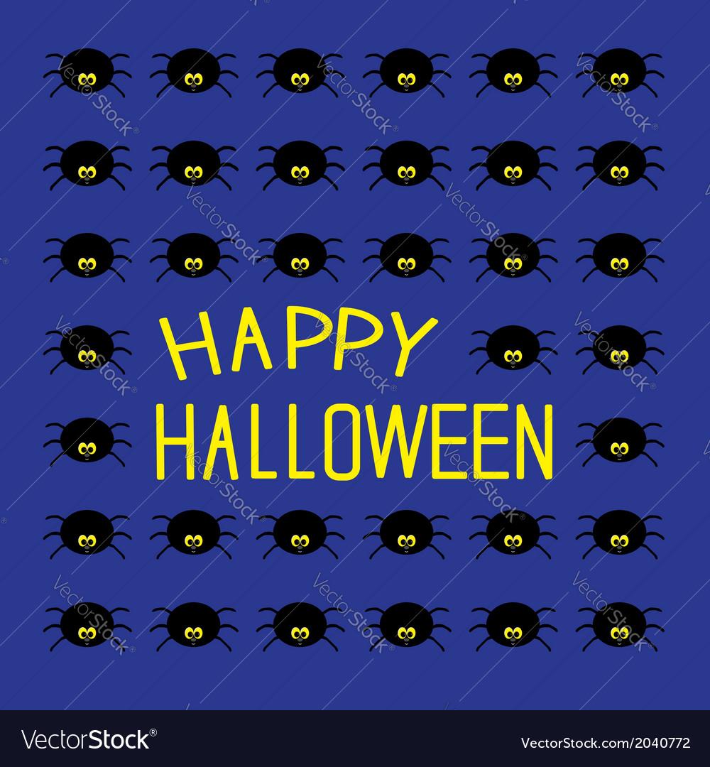 Black spiders Happy Halloween card vector image