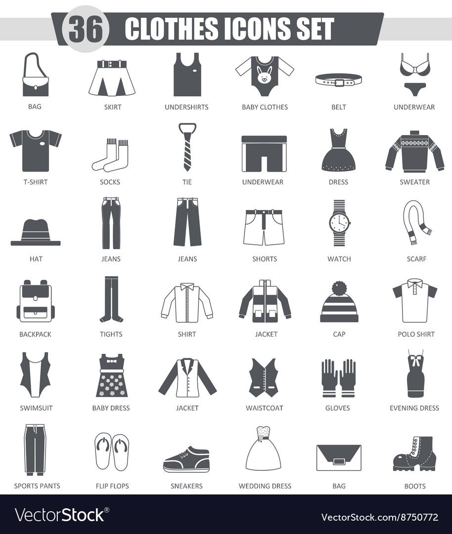 Clothes black icon set Dark grey classic