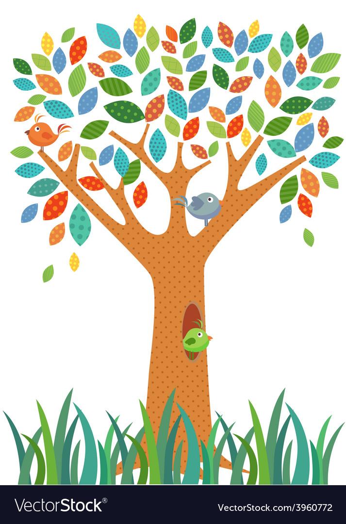 Fancy Tree and little bird vector image