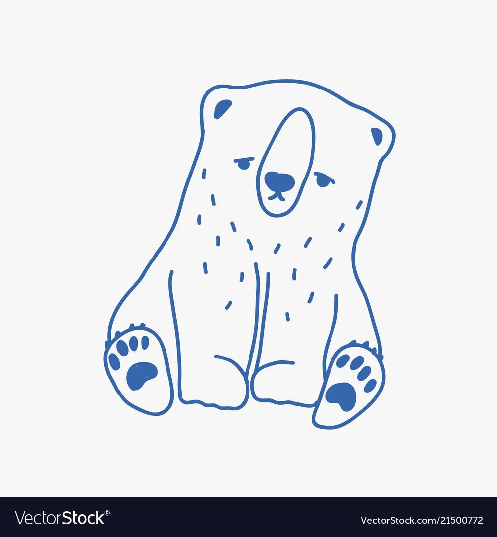 Sad adorable baby polar bear hand drawn with blue