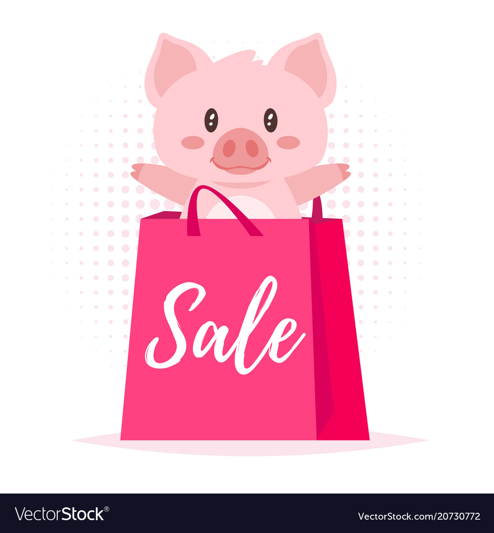 Sale banner with pig