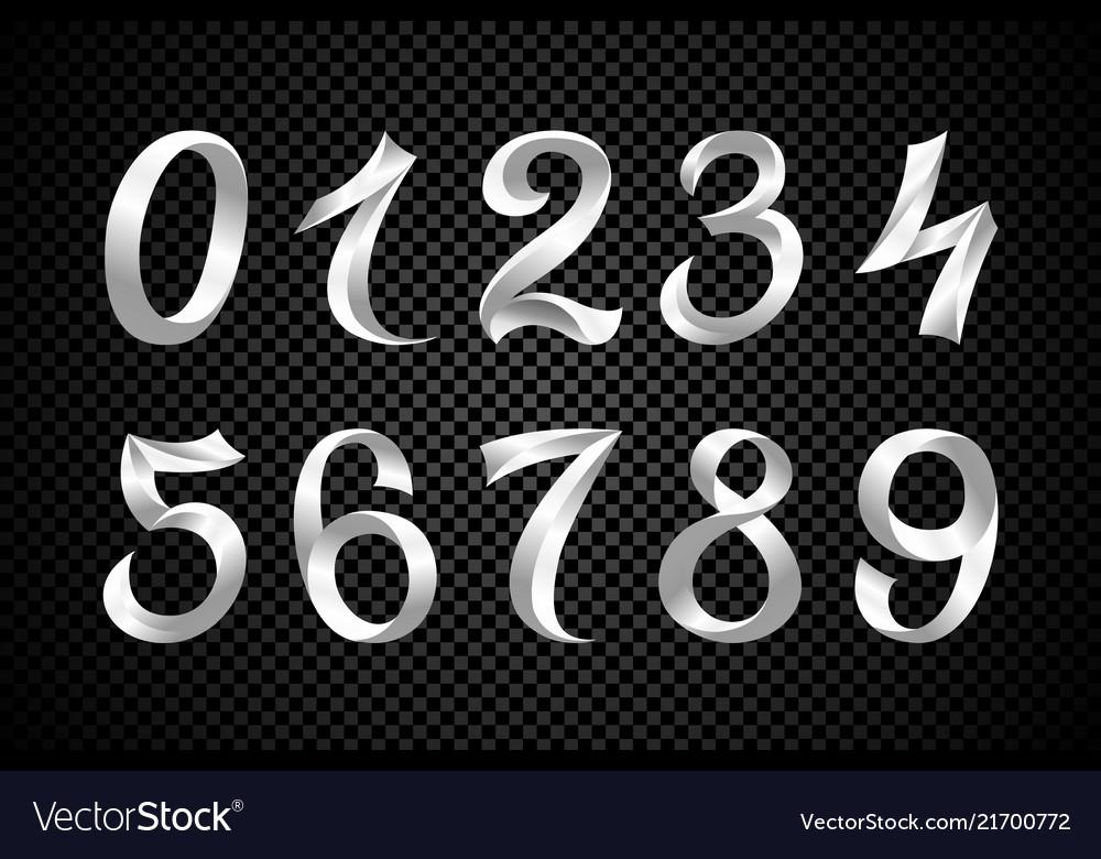 Set of festive white ribbon digits iridescent