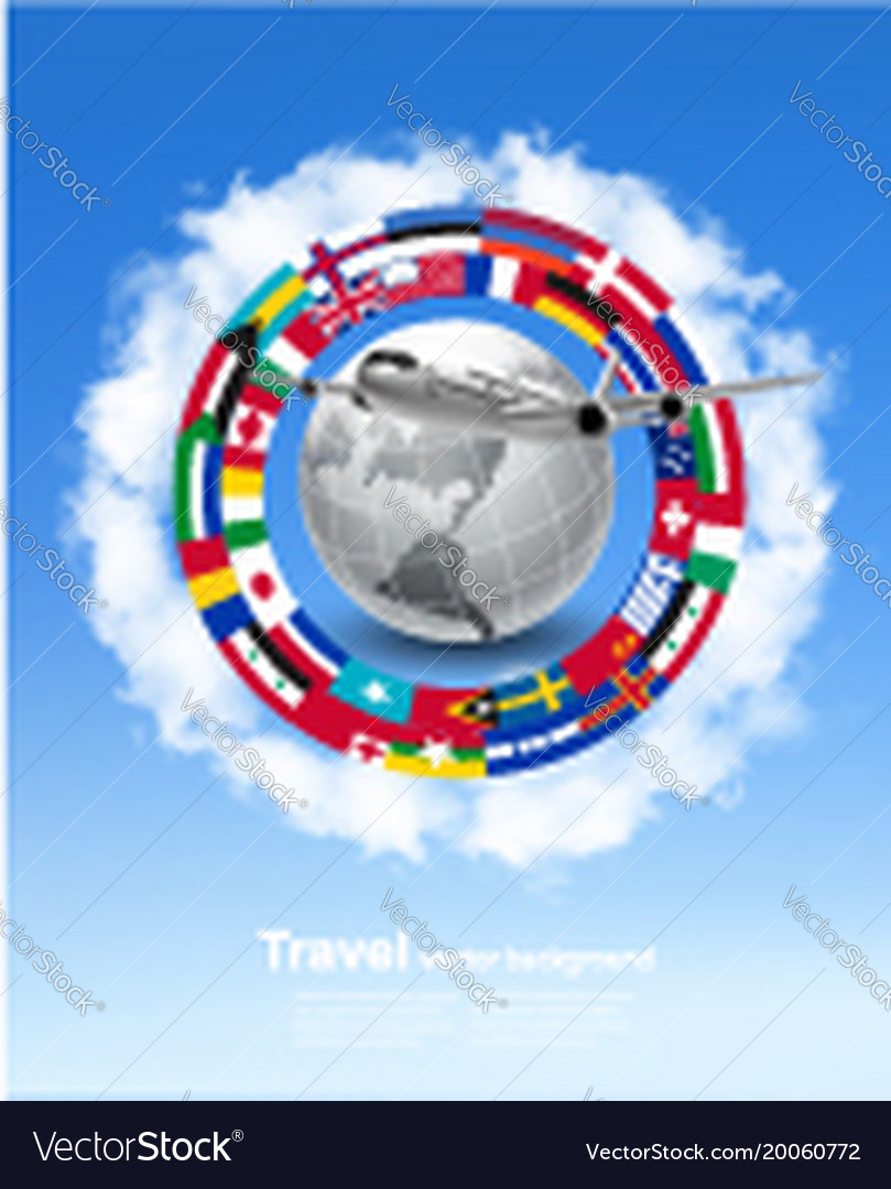 Travel background globe with a plane and a circle