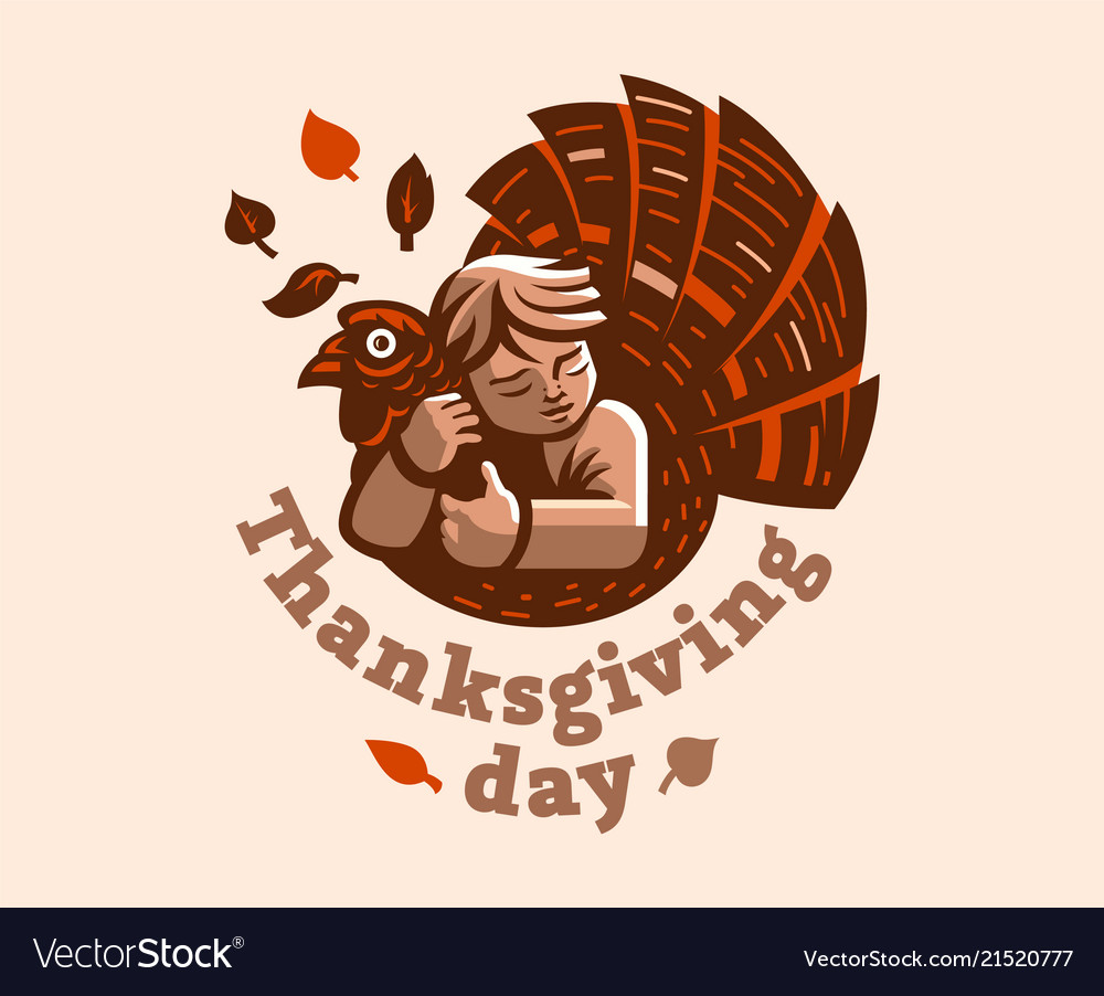 A child is embracing a turkey thanksgiving day