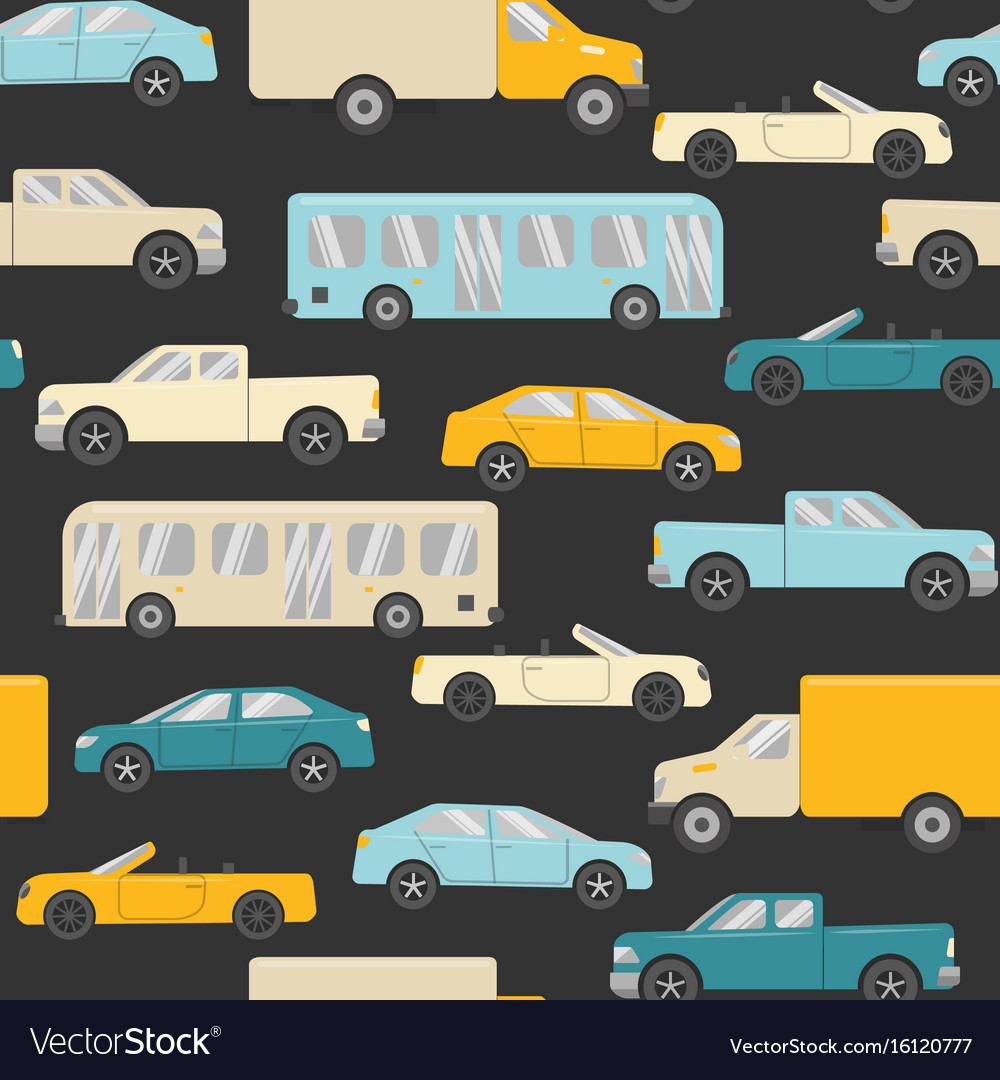 Bright seamless pattern with cars