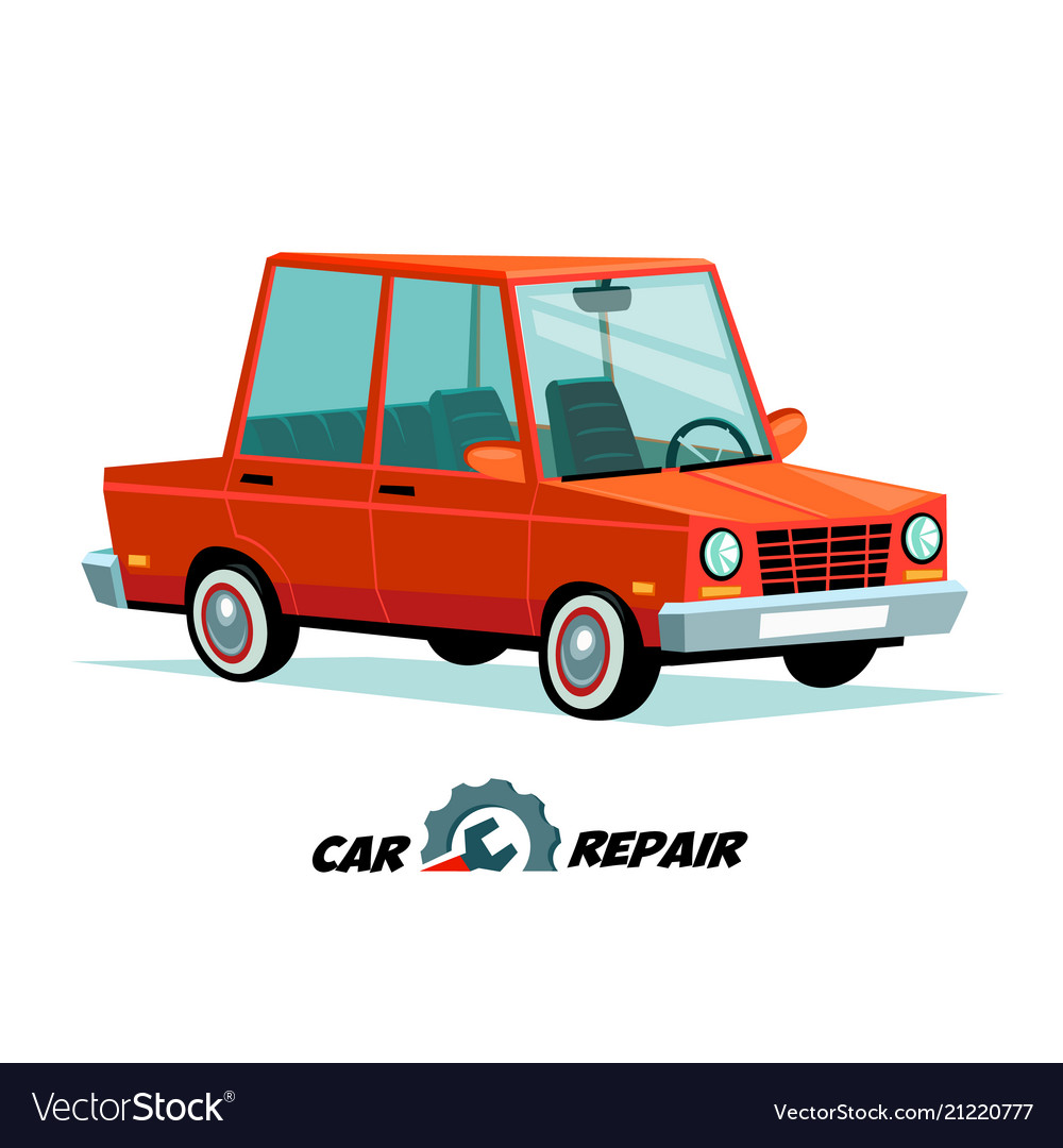 Car repair concept cartoon car image in flat