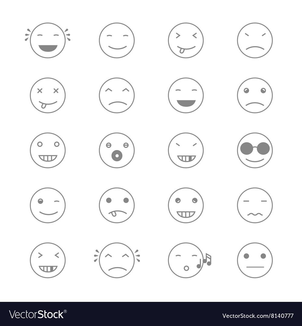 Emoticons Collection Set of Emoji Flat monochrome